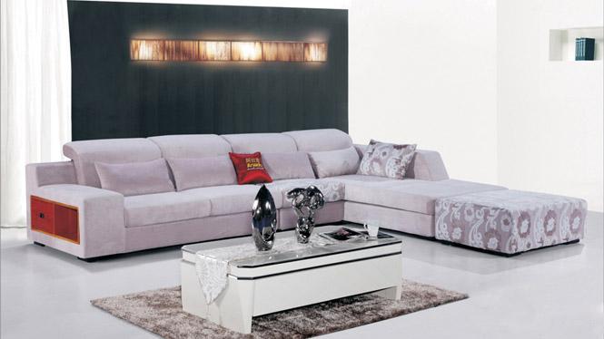 客厅家具田园布艺沙发组合现代贵妃转角小户型布艺沙发AF567