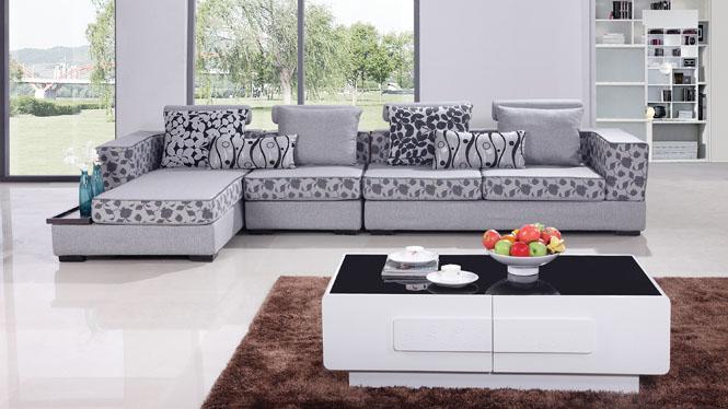 布艺沙发可拆洗时尚现代客厅转角布沙发组合家具AF075