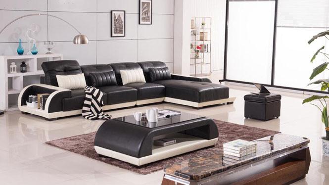 皮艺沙发 皮艺沙发组合 大小户型客厅转角简约现代中厚皮沙发AL509