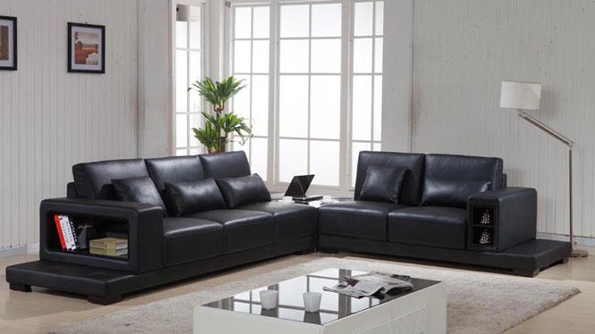 皮艺沙发 简约现代客厅组合头层牛皮沙发大户型转角皮艺沙发AL606
