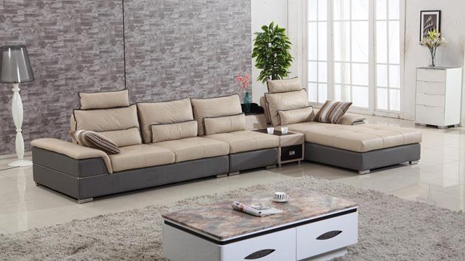 皮艺沙发 小户型简约现代客厅转角皮艺沙发组合 中厚皮沙发AL501