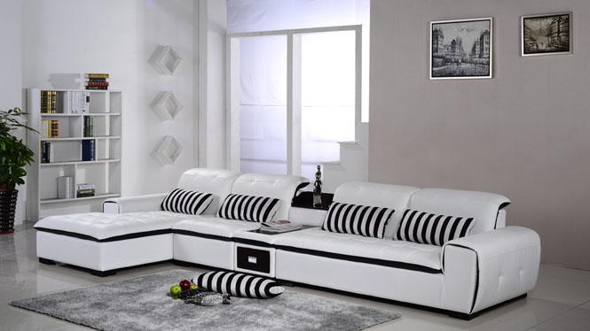 皮艺沙发 真皮沙发 功能沙发 时尚简约大小户型皮沙发组合AL346-A