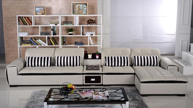 皮艺沙发 真皮沙发 功能沙发 时尚简约大小户型皮沙发组合AL346-B