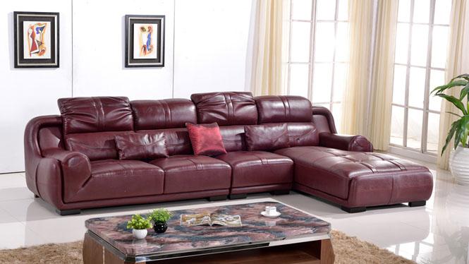 沙发简约现代真皮沙发头层牛皮大小户型客厅皮艺沙发组合厚皮沙发 AL341酒红色
