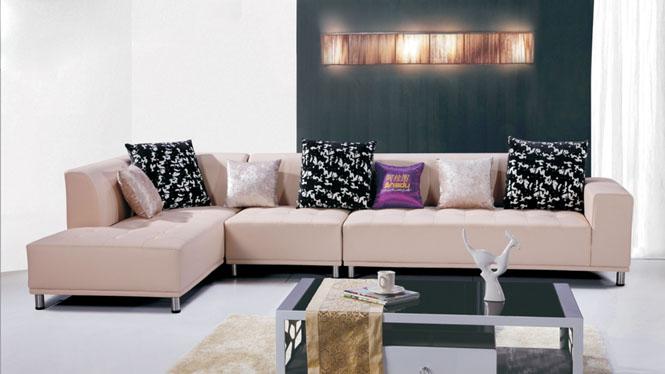 沙发组合 现代简约头层牛皮沙发 客厅转角组合中厚皮艺沙发AL111