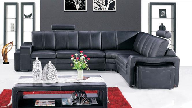 进口真皮沙发 现代简约 客厅组合 小户型转角沙发 皮艺沙发AL330