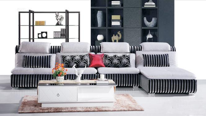 L型转角欧式贵妃客厅布艺沙发组合小户型布沙发可拆洗AF568