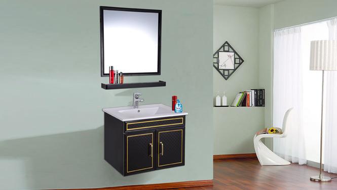 简约现代太空铝浴室柜组合卫生间洗脸洗手盆洗漱台卫浴吊柜AL8038 600mm