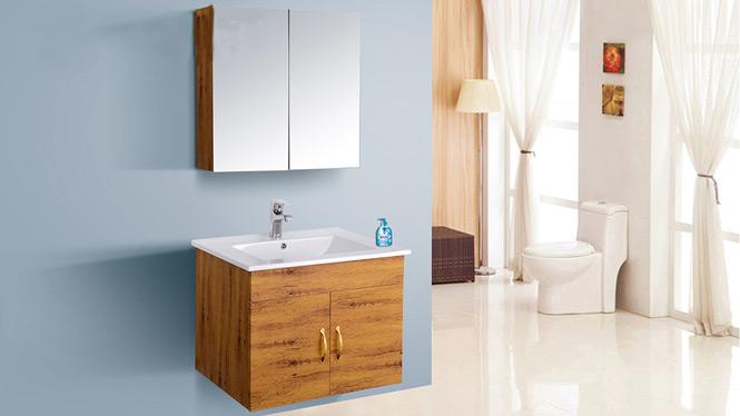 现代简约太空铝浴室柜组合吊柜洗脸手盆卫生间镜柜台面AL8028 600mm