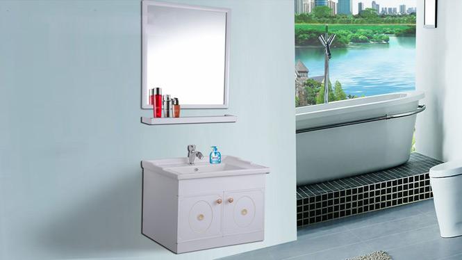 太空铝浴室柜组合现代简约洗脸盆挂墙式吊柜 洗脸盆洗手盆卫浴柜AL8021 600mm