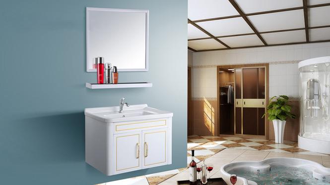 现代简约太空铝浴室柜组合吊柜洗脸手盆卫生间镜柜台面盆AL8020 700mm