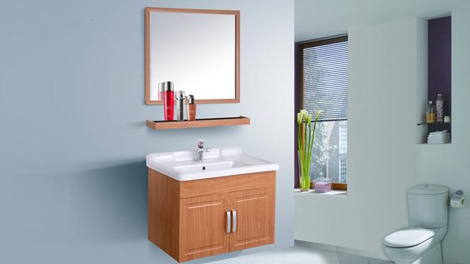 简约浴室柜组合小户型吊柜洗漱台洗脸盆柜 防潮太空铝浴室柜组合AL8019 700mm