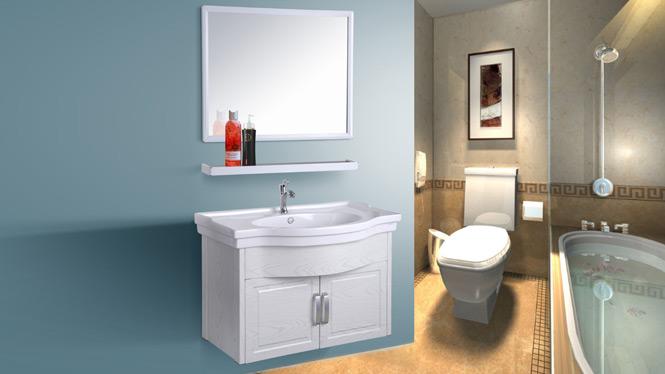 太空铝合金整体浴室柜卫浴柜洗脸盆柜组合卫生间吊柜AL8013 750mm