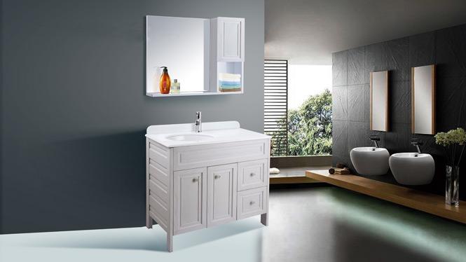 简约现代太空铝浴室柜组合卫生间洗脸洗手盆洗漱台卫浴落地柜AL8011 900mm