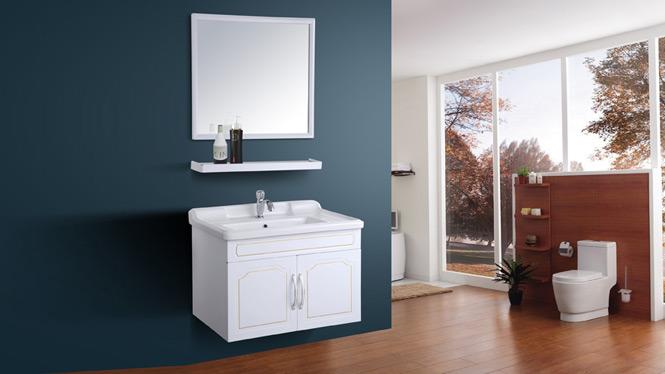 太空铝小户型卫生间浴室柜组合挂墙式洗手台洗脸盆池洁具吊柜AL8008 700mm