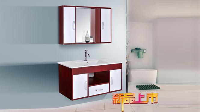 现代太空铝浴室柜吊柜洗手洗脸台盆 小卫生间简约挂墙卫浴柜组合AL8004 1000mm