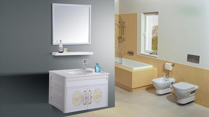 简约现代太空铝浴室柜组合吊柜铝合金卫浴柜镜柜洗手盆组合柜AL8005 650mm