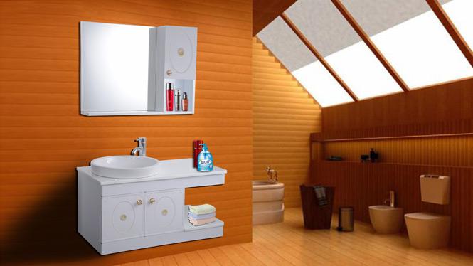 简约浴室柜组合小户型吊柜洗漱台洗脸盆柜 防潮太空铝浴室柜组合AL8001 900mm