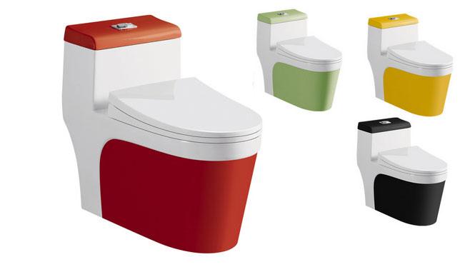抽水马桶坐便器 座便器 卫浴洁具超漩虹吸式陶瓷彩色马桶节水静音1225