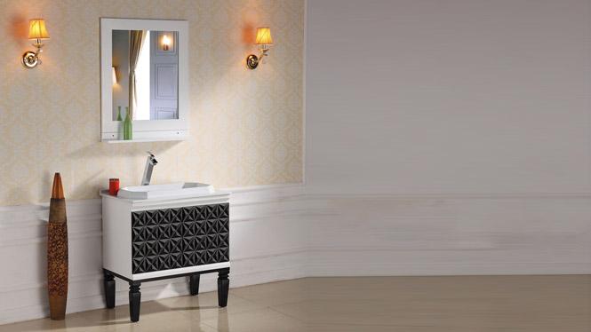 卫浴简欧式橡木浴室柜组合洗脸洗手盆面盆梳漱台池卫生间实木落地柜2969 800mm1000mm