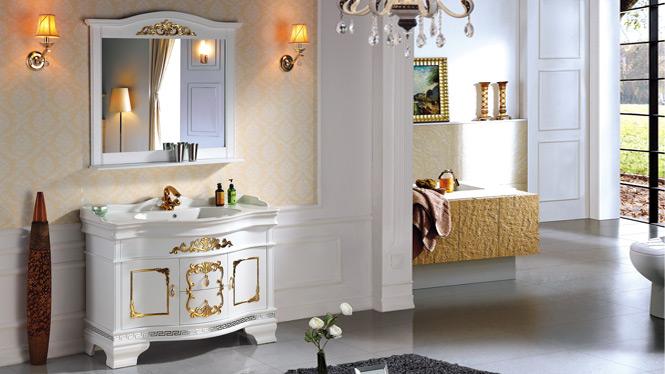 欧式浴室柜落地实木橡木中式仿古卫浴柜美式洗漱洗手台洗脸盆组合2961 1200mm800mm1000mm