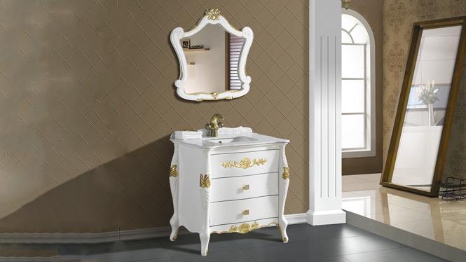 欧式浴室柜中式落地橡木洗手台洗脸面盆柜组合实木美式仿古卫浴柜2889 820mm