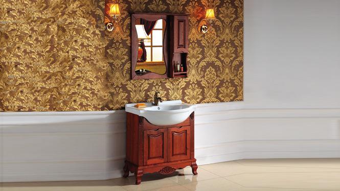 欧式浴室柜组合仿古卫浴柜实木浴柜落地橡木柜洗脸台盆柜2998 800mm1000mm1200mm