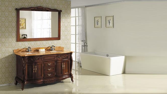 欧式橡木实木卫浴浴室柜组合柜落地柜洗漱台台上盆洗脸盆卫浴柜2948 1450mm