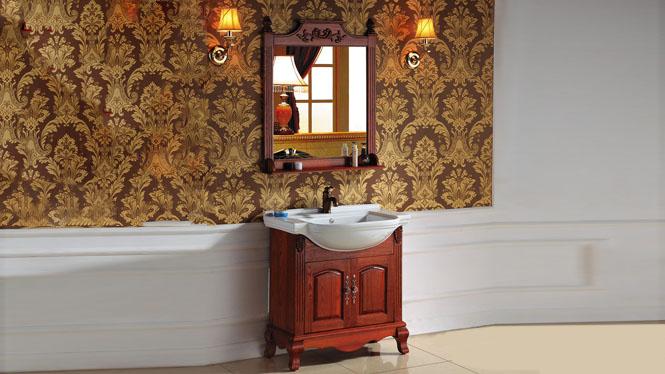 欧式橡木浴室柜组合实木仿古落地柜洗手柜镜柜简约卫浴柜2999 800mm1000mm1200mm