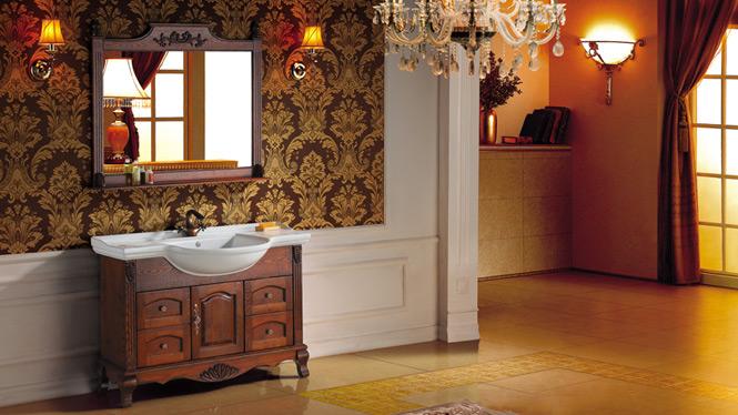 欧式橡木浴室柜组合实木仿古落地柜洗手柜镜柜简约卫浴柜2999 1200mm800mm1000mm