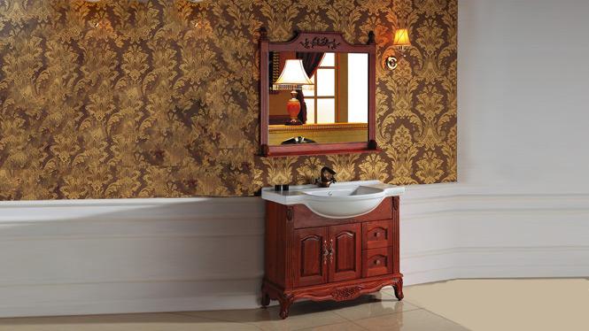 欧式橡木浴室柜组合实木仿古落地柜洗手柜镜柜简约卫浴柜2999 1000mm800mm1200mm