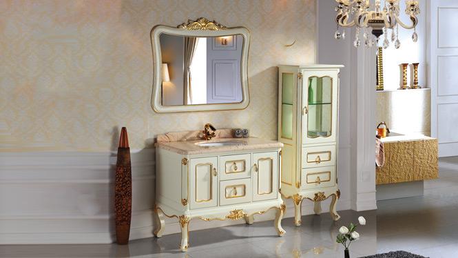 欧式浴室柜组合落地橡木洗手台洗脸盆实木仿古卫浴柜2994 1000mm900mm