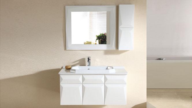 现代实木卫浴柜洗漱台洗脸盆柜镜柜橡木浴室柜组合面盆柜吊柜2964 1000mm