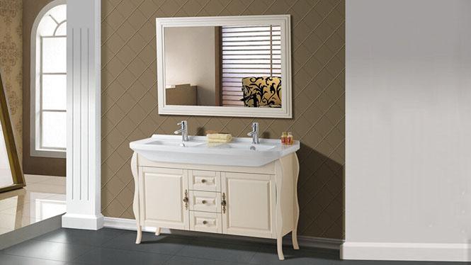 欧式浴室柜落地橡木洗脸盆组合浴柜化妆卫浴柜落地实木柜2862 1350mm