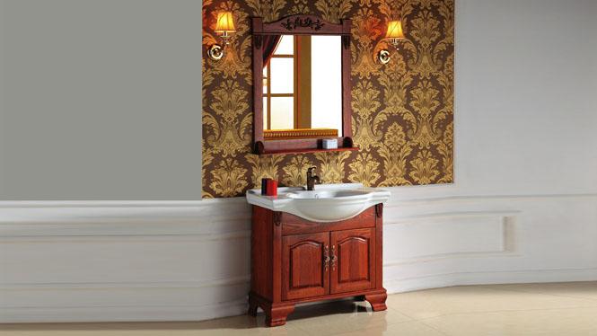 欧式橡木落地浴室柜组合简约洗漱台手盆实木仿古卫浴落地柜3008 800mm1000mm1200mm