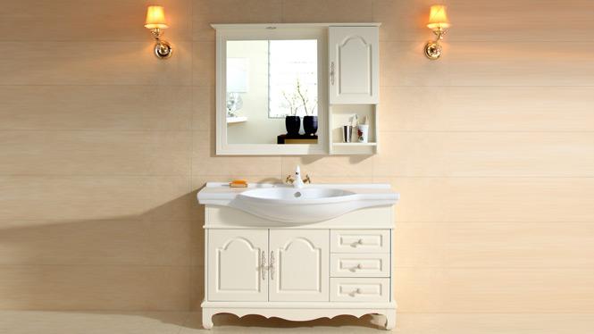 欧式橡木浴室柜组合大理石洗脸盆镜柜卫生间梳洗台简约落地柜卫浴B015 1000mm800mm900mm1100mm1200mm