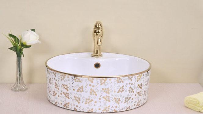 镀金 圆形金色陶瓷艺术盆 洗手盆 洗面盆洗脸盆 台上盆 带龙头孔PJ1320