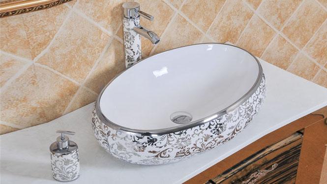 欧式台上盆 洗脸盆 陶瓷面盆 镀金色 阳台洗手盆 艺术盆洗漱台盆PY1718