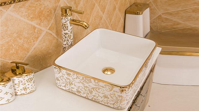 陶瓷 镀金 镀银 高档 电镀 彩花 艺术盆 洗手盆 洗脸盆PY1719