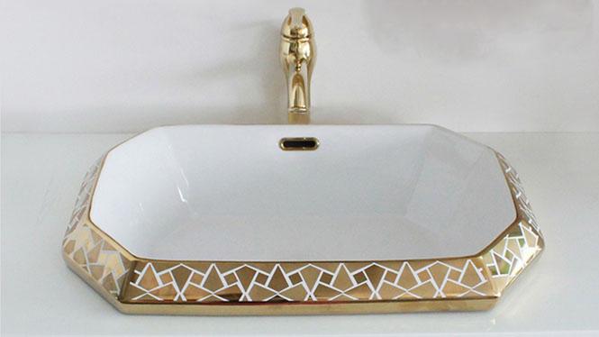洗手盆 欧式面盆 嵌入式台中盆 陶瓷洗脸盆 艺术台下盆 金单盆PY1106