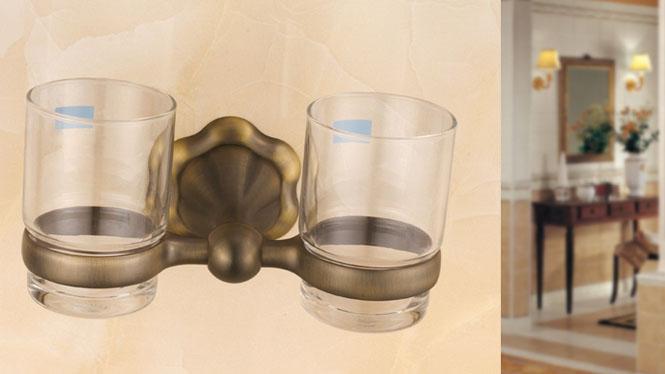 牙刷架 漱口杯架 刷牙杯 玻璃双杯架 欧式金色仿古 卫浴浴室挂件72882G