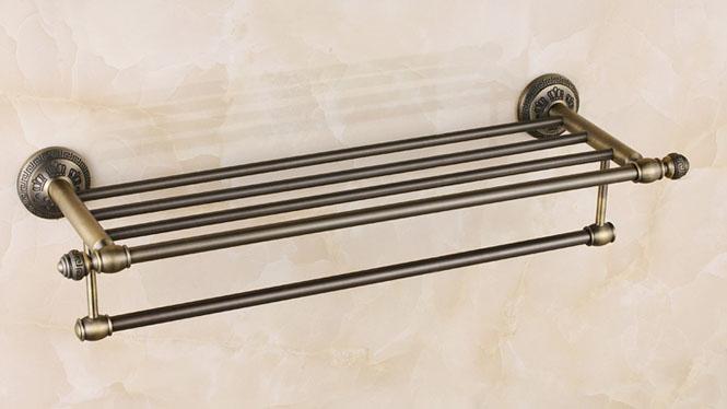 欧式风格田园浴巾架仿古毛巾架中式浴室五金挂件套装复古毛巾杆26808G-02