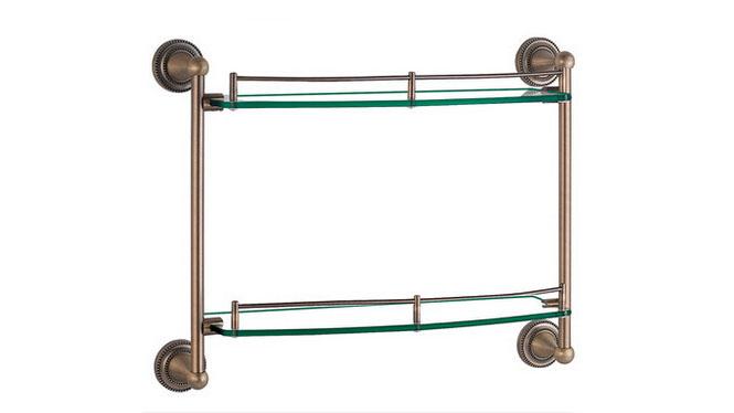 仿古浴室置物架 化妆台架 双层玻璃卫浴五金挂件欧式美式田园套装72302