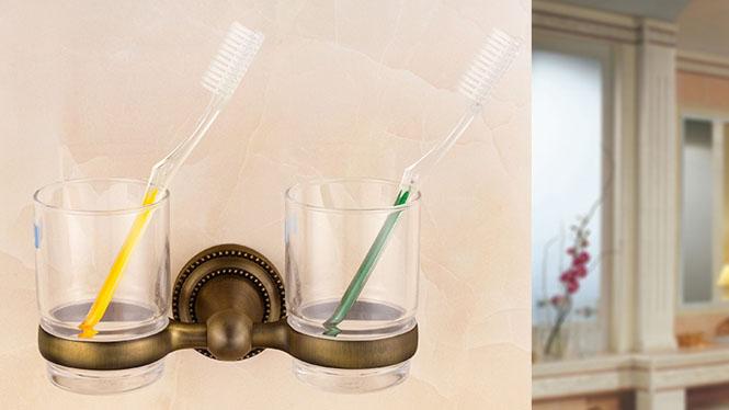 五金浴室挂件 青古铜仿古 欧式美式田园风 杯架单双杯架72382
