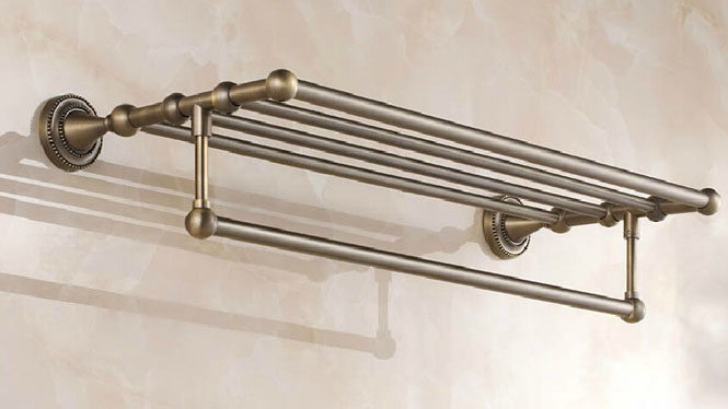 仿古浴巾架 欧式毛巾架 不锈钢卫浴五金挂件套装 卫生间置物架72308