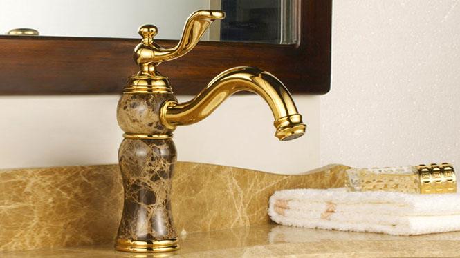 欧式大理石水龙头 全铜啡网石 复古仿古 台下盆面盆 玫瑰金色龙头 金色8702Q