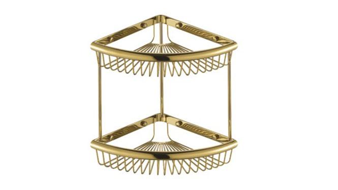 全铜三角篮仿古网篮双层卫生间壁挂浴室转角架欧式金色 青古铜 玫瑰金置物架631