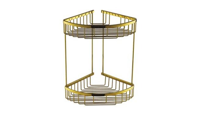 双层三角篮 卫生间网篮 三角架铜置物架 欧式金色浴室五金挂件金色 青古铜 玫瑰金688