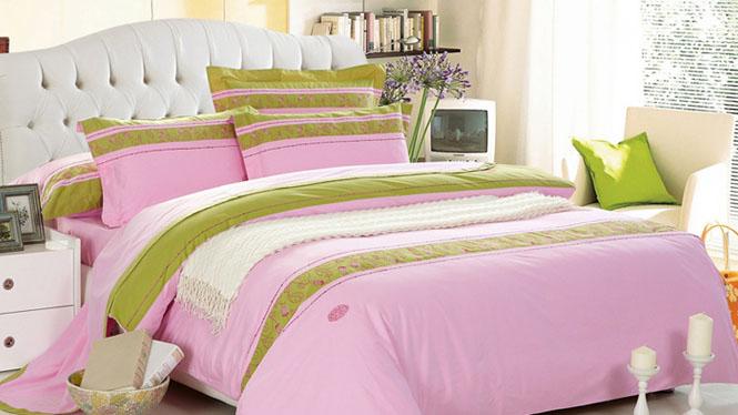 精梳棉春夏清爽纯棉多花型四件套 韩式全棉简约床上用品粉红的回忆