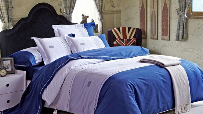 精梳纯棉斜纹印花四件套床上用品被套床单家纺套件海阔天空